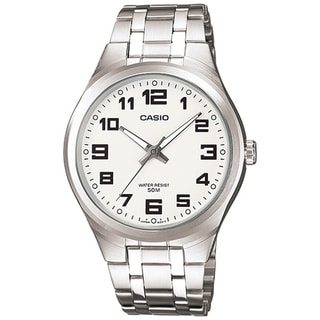 Casio Men's Core MTP1310D-7BV Silvertone Stainless Steel Quartz Watch with White Dial