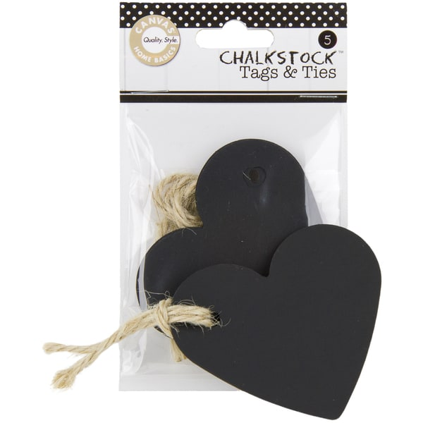 Heart Tags & Ties 3inX2in-Chalkstock 5/Pkg
