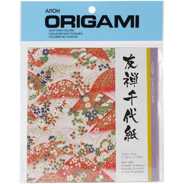 Origami Paper 8/Pkg-Yuzen Washi Red