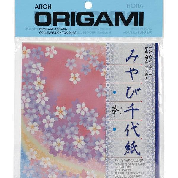 Origami Paper 40/Pkg -Floral Print 5.875inX5.875in