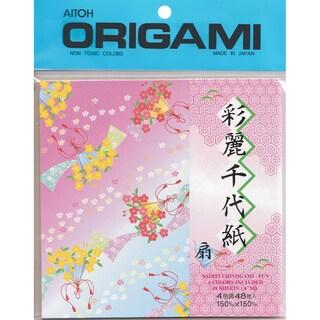 Origami Paper 48/Pkg -Sairei Chiyogami-Fun 5.875inX5.875in