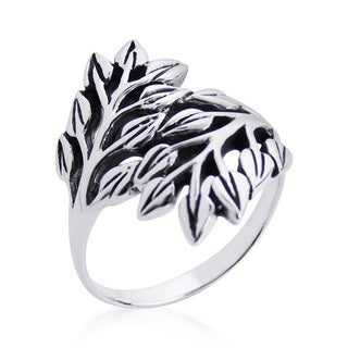Nature Exotic Double Leaves Wrap Sterling Silver Ring (Thailand)