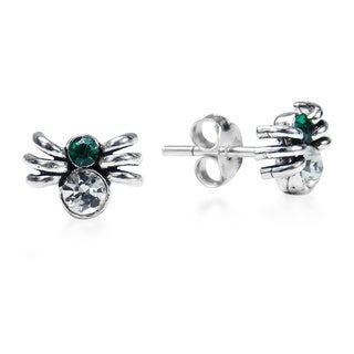 Delightful Spider Cubic Zirconia .925 Silver Stud Earrings (Thailand)