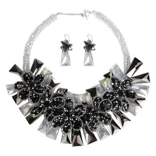 Dramatic Smokey Floral Garland Crystals Jewelry Set (Thailand)