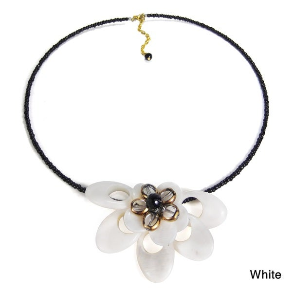 Alluring Floral Blossoms Mother of Pearl Statement Choker (Thailand)