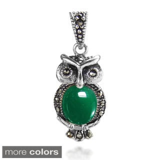 Night Owl Stone and Marcasite 925 Silver Pendant (Thailand)