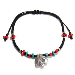 Baby Elephant Karen Tribal Silver Turquoise Ornate Bracelet (Thailand)