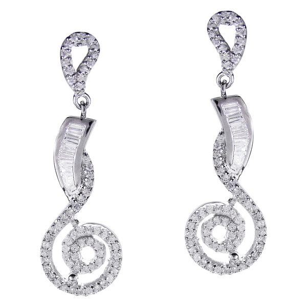 Dazzling Contemporary Swirl CZ .925 Silver Drop Earrings (Thailand)