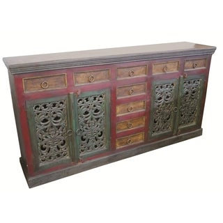 Historic 4 Carved Doors 9 Drawer Buffet