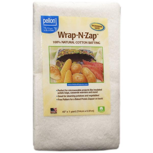 Wrap-N-Zap 100% Natural Cotton Batting 45inX36in-Natural