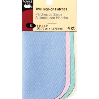 Iron-On Twill Patches 5inX5in 4/Pkg-Pastels