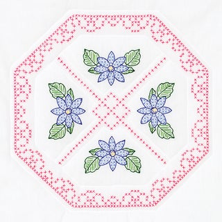 Stamped White Quilt Blocks 18inX18in 6/Pkg-Octagon & Flowers