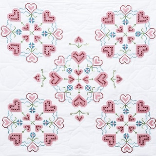 Stamped White Wall Or Lap Quilt 36inX36in-XX Hearts
