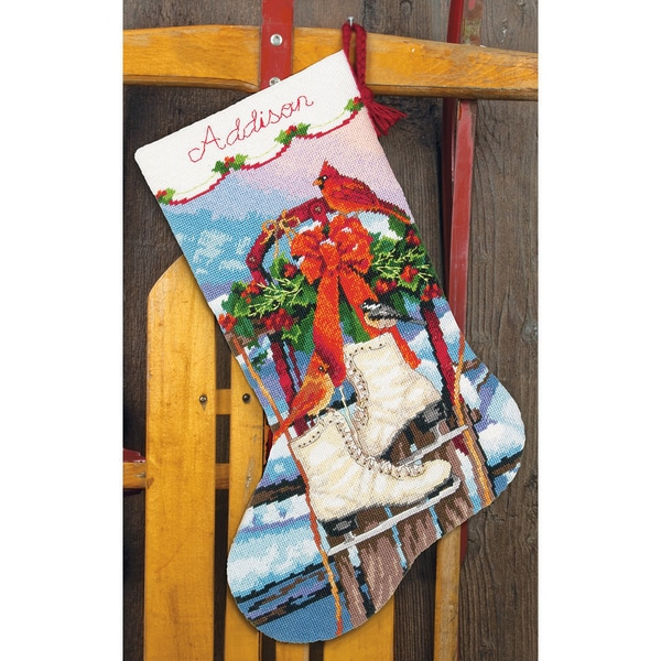 Ice Skates Stocking Needlepoint Kit-16in Long Stitched In Wool & Thread 13286608