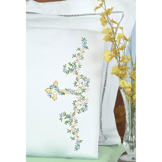 Stamped Pillowcases With White Perle Edge 2/Pkg-Cross