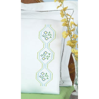 Stamped Pillowcases With White Perle Edge 2/Pkg-Flowers