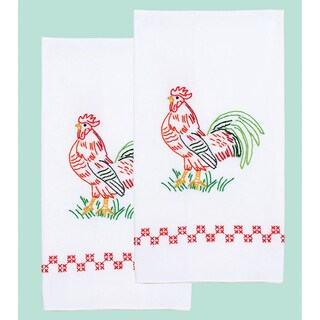 Stamped White Decorative Hand Towel 17inX28in One Pair-Rooster