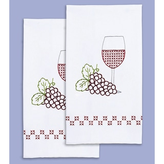 Stamped White Decorative Hand Towel 17inX28in One Pair-Wine & Grapes