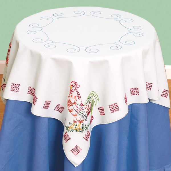 Stamped White Perle Edge Table Topper 35inX35in-Rooster