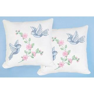 Stamped White Pillowtops 15inX15in 2/Pkg-Birds