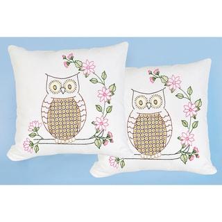Stamped White Pillowtops 15inX15in 2/Pkg-Chicken Scratch Owls