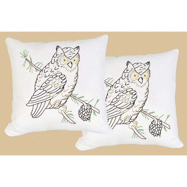 Stamped White Pillowtops 15inX15in 2/Pkg-Owl