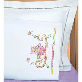 Children's Stamped Pillowcase With White Perle Edge 1/Pkg-Owls