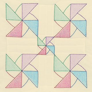 Stamped Ecru Quilt Blocks 18inX18in 6/Pkg-Pinwheel