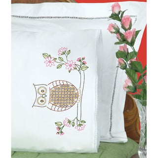 Stamped Pillowcases With White Lace Edge 2/Pkg-Chicken Scratch Owl