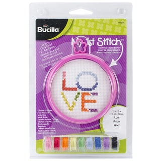 My 1st Stitch Love Mini Counted Cross Stitch Kit-3in Round 14 Count