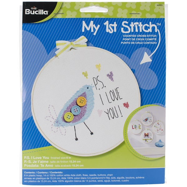 My 1st Stitch P.S. I Love You Mini Counted Cross Stitch Kit-6in Round 14 Count