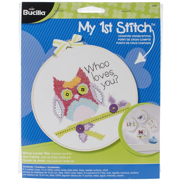 My 1st Stitch Whoo Loves You Mini Counted Cross Stitch Kit-6in Round 14 Count 13286662