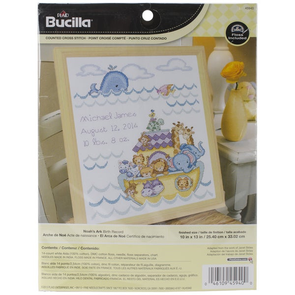 Noah's Ark Birth Record Counted Cross Stitch Kit-10inX13in 14 Count 13286666