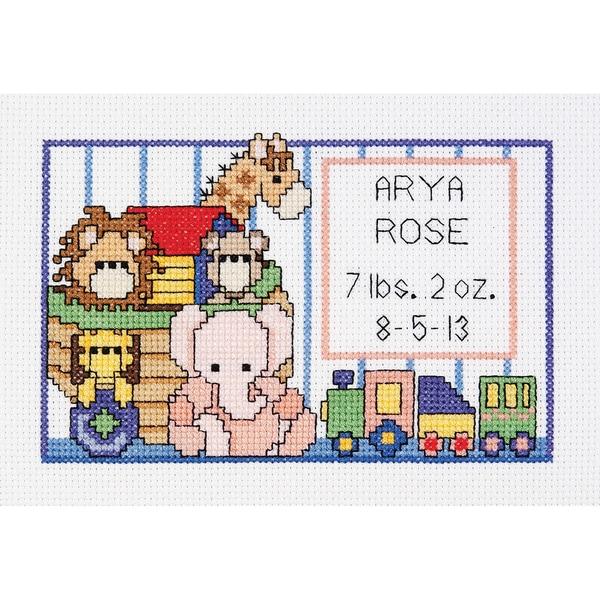 Noah's Ark Birth Sampler Mini Counted Cross Stitch Kit-6inx4in