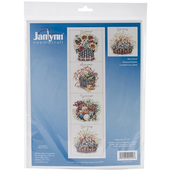 Seasonal Baskets Counted Cross Stitch Kit-6inX24in
