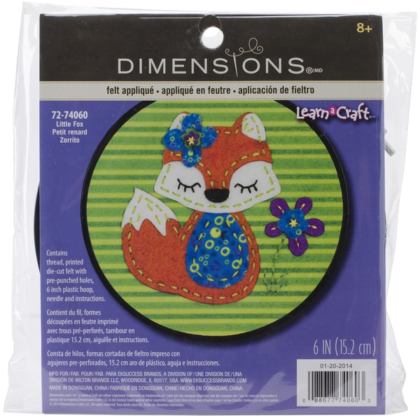 Learn-A-Craft Little Fox Felt Applique Kit-6in Round