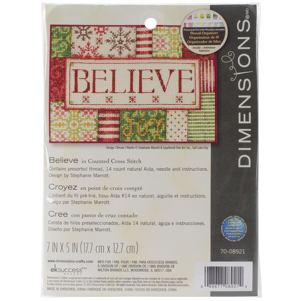 Believe Mini Counted Cross Stitch Kit-7inX5in 14 Count 13286683