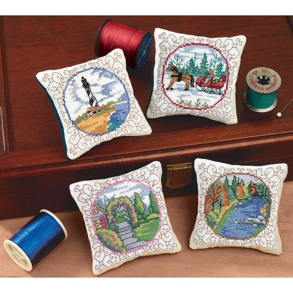 Four Seasons Pincushions Counted Cross Stitch Kit-3-1/2inX3-1/2in Set Of 4