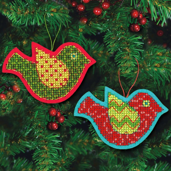 Jolly Bird Ornaments Felt Counted Cross Stitch Kit-5inX3-1/2in 9 Count 13286690