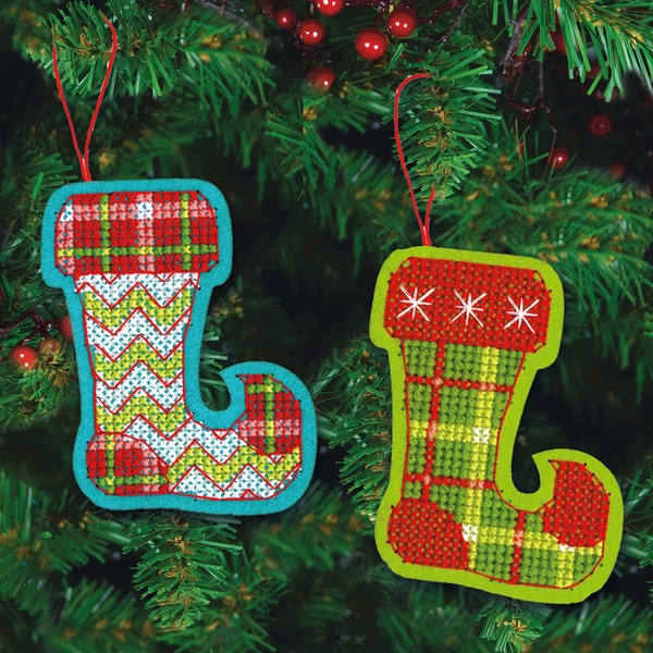 Jolly Stocking Ornaments Felt Counted Cross Stitch Kit-3-1/2inX4-5/8in 9 Count 13286692