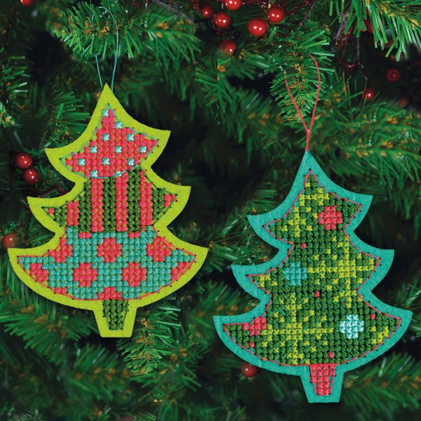 Jolly Tree Ornaments Felt Counted Cross Stitch Kit-4inX5-1/8in 9 Count 13286693