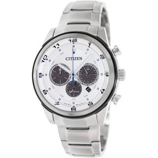 Citizen Men's Eco-Drive CA4034-50A Silvertone Stainless Steel Quartz Watch with Silvertone Dial