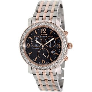 Citizen Women's Eco-Drive FB1296-51H Two-tone Stainless Steel Quartz Watch with Black Dial