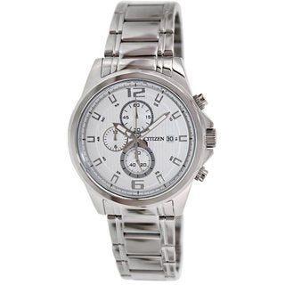 Citizen Men's AN3550-55A Silvertone Stainless Steel Quartz Watch with White Dial