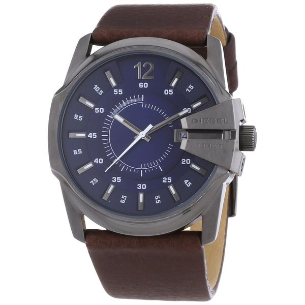 Diesel Men's Master Chief DZ1618 Brown Leather Quartz Watch with Blue Dial