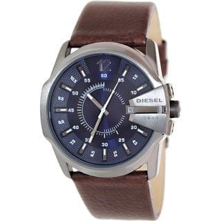 Diesel Men's Master Chief DZ1618 Brown Leather Quartz Watch with Blue Dial