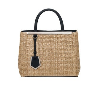 Fendi '2Jours' Petite Straw and Leather Shopper Bag