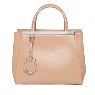 Fendi '2Jours' Petite Peach Patent Leather Shopper Bag