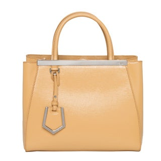 Fendi '2Jours' Petite Yellow Patent Leather Shopper