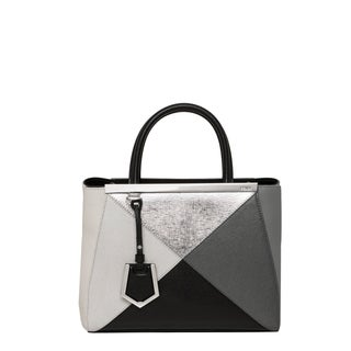 Fendi '2Jours' Petite Grey and Silver Shopper Bag